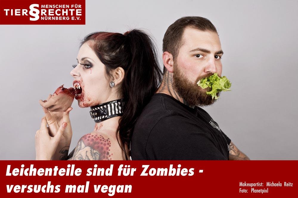 Frau isst menschliche Hand & Mann Salat- Tierrechte