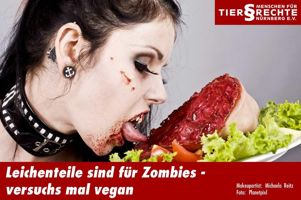 Vampir-Frau - Darstellung Fleischkonsum für Tierechte