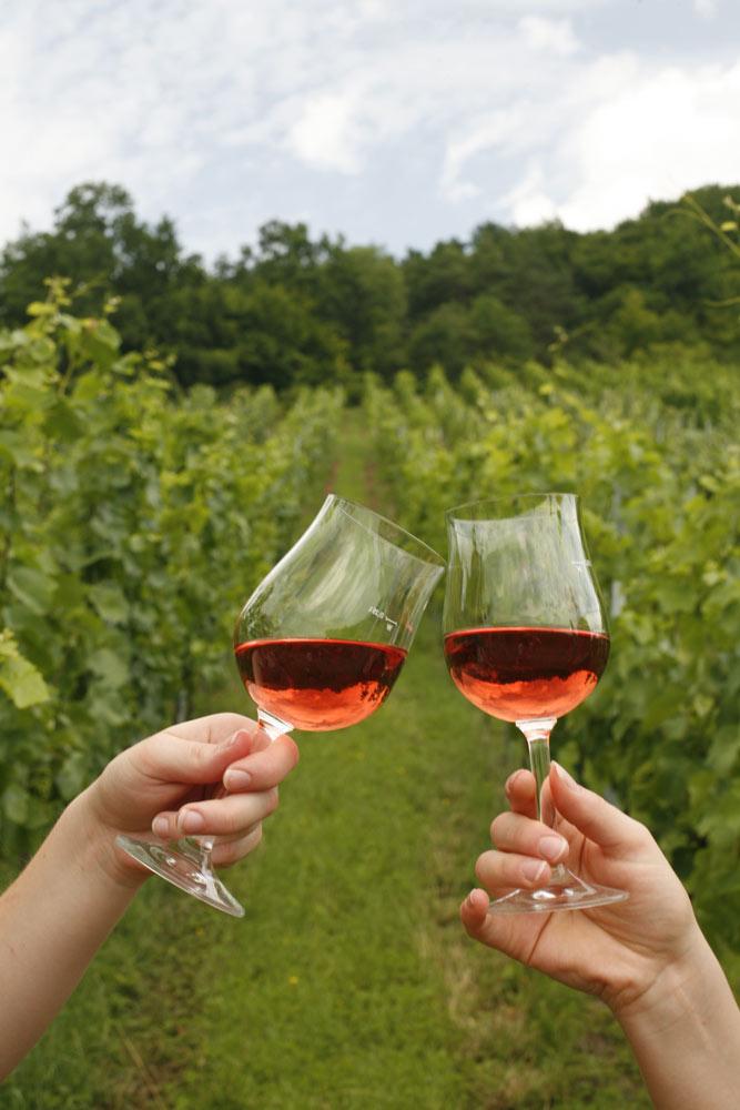 Weingläser beim Anstoßen