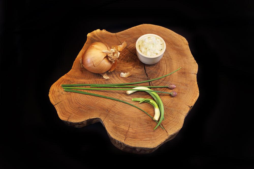 Foodfotografie, Zwiebel auf Holzbrett, dekoriert mit Schnittlauch. Zwiebel in Würfel geschnitten in einer grauen Schale
